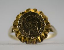 A 9ct Gold Ring Set with a Mexican 9ct Gold Coin. Fully Hallmarked.