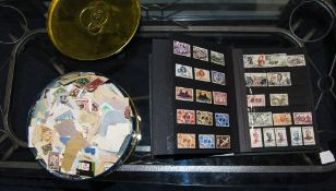 Tin Containing A Mixed Lot Of Stock Stamps, Mostly Foreign Together With A Stamp Album
