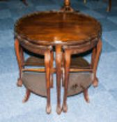 Late 19th/Early 20thC Mahogany Nest Of Tables Shaped Circular Top With Pie Crust Border Raised On