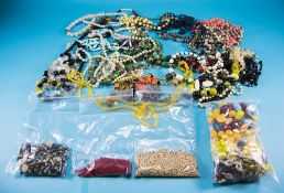 Large Bag of Costume Jewellery, mainly necklaces, plus a smaller bag of sorted loose beads