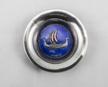 925S Norweigan Silver & Enamel Pin Dish Hallmarked 925S N, Silver Dish With Blue, Red, White