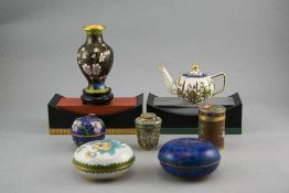 A Vintage Collection of Small Cloisonne Items ( 7 ) In Total. Various Shapes and Sizes.