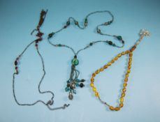 Three Various Art Deco Style Tassel Necklaces comprising a long seed bead chain with stations of