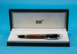 Mont Blanc Style Fountain Pen Marbled Amber Coloured Barrel With Black Cap, Stainless Steel Mounts