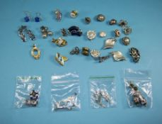 Collection of Earrings including green cloisonne and rose quartz drops, Navajo style silver and