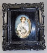 19thC Portrait Miniature Painted On Porcelain Plaque Depicting A Young Woman Wearing Roses In A