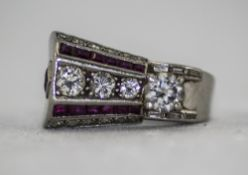 Art Deco 18ct White Gold Bespoke Diamond and Ruby Ring.