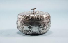 Chinese Export Silver Pumpkin Fertility Bowl And Cover The Whole With Embossed Floral Panels. 2
