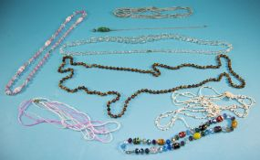 Collection of Vintage Glass Necklaces including Murano, seed beads, faceted clear crystals etc