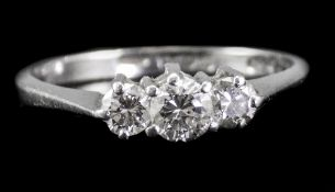 Ladies Platinum Set Three Stone Diamond Ring c 1930's.