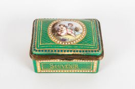 Sevres - Grand Tour Fine Hand Painted and Signed Ceramic and Gold Metal Hinged Trinket Box. The