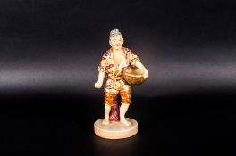 Meiji Period Satsuma Figure Depicting A Farmer Sowing Seeds, Painted In Enamels, 5 ½