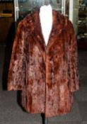 Ladies Mid Brown Short Sleeve Coat, fully lined, collar with revers. slit pockets,