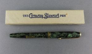 Late 1950's/Early 60's Conway Stewart 73 Fountain Pen In Green Hatch Design, 14ct Number 4 Nib, In