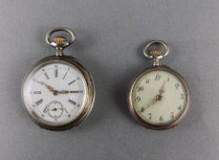 Swedish - 1920's Keyless Silver Ladies Fob Ornate Pocket Watches ( 2 ) In Total. Full Silver