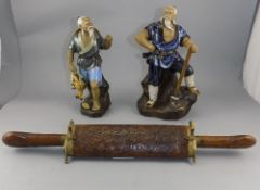 Two Oriental Figures Depicting A Fisherman And Wood Cutter Together With A Carved Oriental Carving