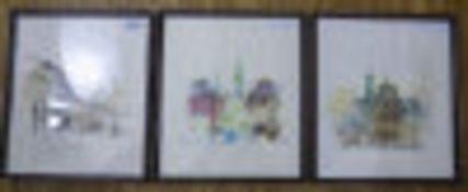 Three Framed Prints, Street Scenes
