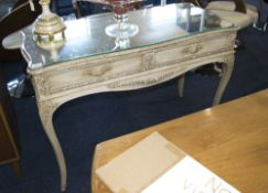Serpentine Fronted French Painted Early 20thC Side Table with Carved Acanthus And Leaf Applied