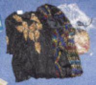 Two Ladies Designer Beaded Black Evening Dresses , one Frank Usher together with handbag.