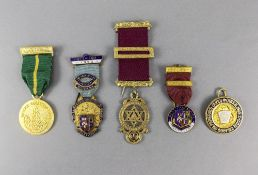 Masonic Enamel Jewels (5) in total. Various lodges.