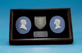 Wedgwood Jasper QE II Silver Jubilee plaques with solid silver ingot and shield Approx 20x12cm