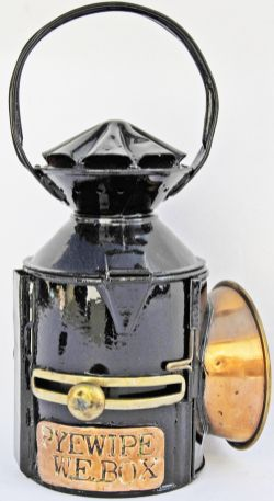 GER sliding-knob Handlamp with single pie-crust and brass plated PYEWIPE WE BOX. Tastefully