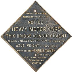 LMS fully titled Bridge Restriction Sign, square on end  with the Shropshire Union details  'SU