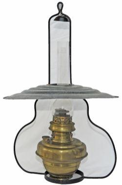 GWR hanging signalbox oil lamp complete with shade , reservoir and with original glass funnel