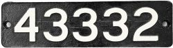 Smokebox Numberplate 43332. Ex LMS 0-6-0 3F locomotive built by Kitson in May 1892, originally