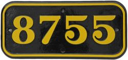 GWR Cabside Numberplate 8755. Ex GWR 0-6-0PT built Swindon October 1933 and allocated to Paddington.
