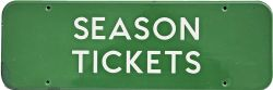 BR(S) enamel Doorplate SEASON TICKETS, fully flanged 18in x 6in. Small, expert repair to L/H