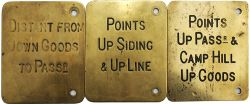 Midland Railway brass Signal Box Lever Plates, qty 3 comprising: Points Up Passgr & Camp Hill Up