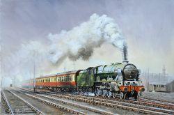 Original Oil Painting 'Royal Scot 46109 Royal Engineer Leaving Manchester' by Joe Townend GRA. An