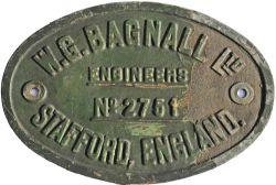 Worksplate WG Bagnall Ltd Engineers Stafford England No 2751. Ex Standard Gauge 0-6-0ST Austerity
