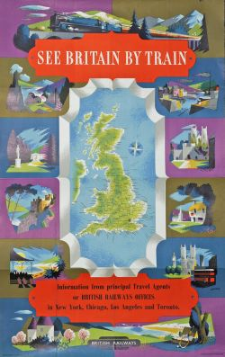 Poster 'See Britain by Train, British Railways, Information from principal travel agents or BR