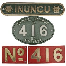 Nameplate INUNGU plus the matching alloy Cabside Numberplate 416 and cast brass Bufferbeam Plates (