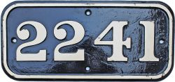 Cabside Numberplate 2241. Ex GWR Collett designed 0-6-0 locomotive built March 1945 and allocated to