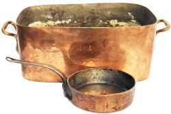 GWR all copper, large Cooking Pan together with an all copper Saucepan stamped NER Royal Hotel