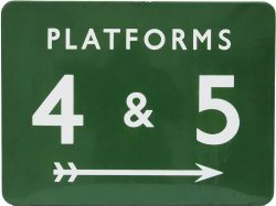 BR(S) dark green enamel Platform Sign PLATFORMS 4 & 5 with right facing feathered arrow, 24in x