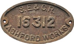 Wagon Plate SE&CR 16312 Ashford Works, cast iron 10in x 6in. Absolutely original condition.