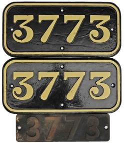 GWR cast iron Cabside Numberplates 3773 both sides so a pair together with 3773 Smokebox