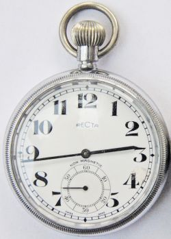 BR(W) Pocket Watch by Recta, Swiss Made'. Nickel case engraved on rear 'BR (W) 04571'. Good