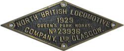 Worksplate North British Railway No 23936 dated 1929, brass diamond shape. Ex GWR 5700 class 0-6-0PT