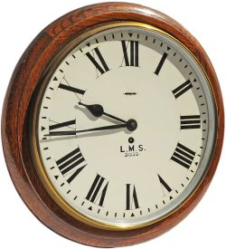 BR(M) LMS Clock No 21222 with 12 inch dial in original oak case with a Smiths Going Barrel movement.