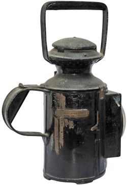 Lancashire & Yorkshire 3 aspect Handlamp. Square front with bullseye lens and bearing a thick