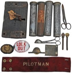 A collection of items recovered from Llangunllo comprising: Wooden Door Lock stamped L&NWR (very
