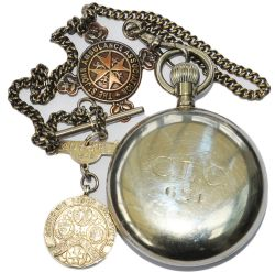 Cheshire Lines Committee fully working nickel cased Guards Pocket Watch with chain and silver CLC