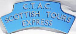 Headboard British Railways CTAC SCOTTISH TOUR EXPRESS. Aluminium construction measures approx 41