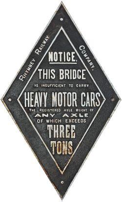 Rhymney Railway cast iron Bridge Restriction Notice. Face restored, rear original.