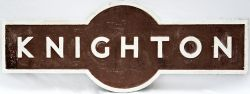 LMS alloy Hawkseye Sign KNIGHTON. Ex L&NWR station between Craven Arms and Swansea where the L&NWR